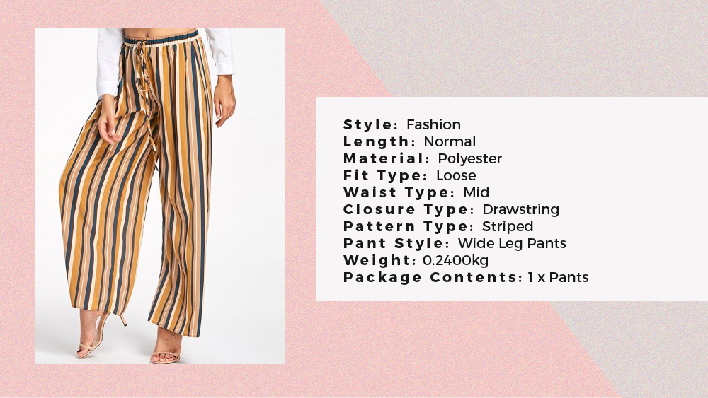 Drawstring Vertical Stripe Palazzo Pants - Rosegal